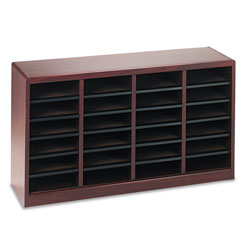 Safco Wood Literature Organizer, 24 Compartments, Mahogany Laminate