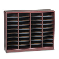 Safco Wood Literature Organizer, 36 Compartments, Mahogany Laminate