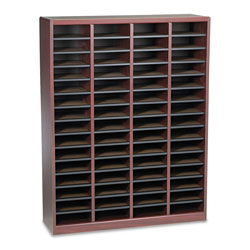 Safco Wood Literature Organizer, 60 Compartments, Mahogany Laminate