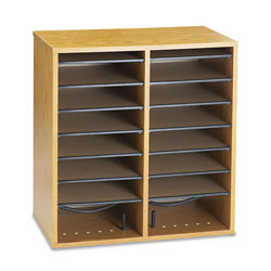 Safco Wood Literature/CD Organizer, 16 Adjustable Compartments, Medium Oak
