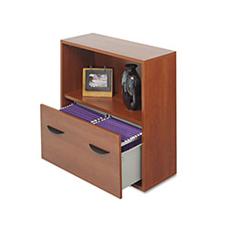 Safco Après File Drawer Cabinet w/Shelf, 30w x 12d x 30h, Cherry