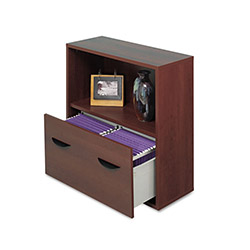 Safco Après File Drawer Cabinet w/Shelf, 30w x 12d x 30h, Mahogany