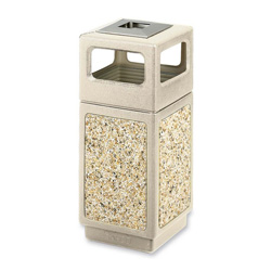 Safco Square Plastic Outdoor Trash Can, 15 Gallon, Beige