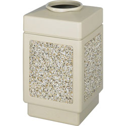 Safco Square Plastic Outdoor Trash Can, 38 Gallon, Beige