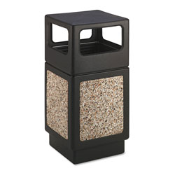 Safco Square Plastic Outdoor Trash Can, 38 Gallon, Black