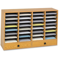 Safco Wood Literature Organizer, 32 Adjustable Compartments/2 Drawers, Medium Oak