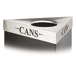 "Safco Triangular Lid For Trifectat Receptacle, Laser Cut ""CANS"" Inscription, STST"