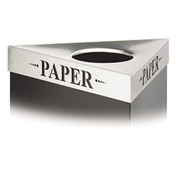 "Safco Triangular Lid For Trifectat Receptacle, Laser Cut ""PAPER"" Inscription, STST"