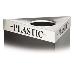 "Safco Triangular Lid For Trifectat Receptacle, Laser Cut ""PLASTIC"" Inscription, STST"