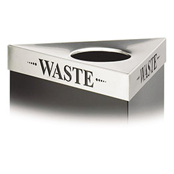 "Safco Triangular Lid For Trifectat Receptacle, Laser Cut ""WASTE"" Inscription, STST"