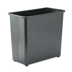 Safco Black Steel Fireproof Trash Can, 7.75 Gallon, Rectangle