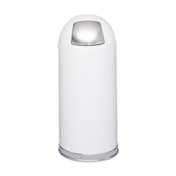 Safco Dome Top Metal Indoor Trash Can, 15 Gallon, White