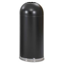 Safco Dome Open Top Metal Indoor Trash Can, 15 Gallon, Black