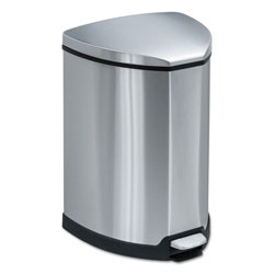 Safco Step-On Metal Outdoor Trash Can, 4 Gallon, Chrome & Black