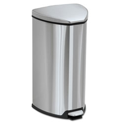 Safco Step-On Metal Outdoor Trash Can, 7 Gallon, Chrome & Black