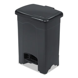 Safco Rectangle Plastic Step-On Trash Can, 4 Gallon, Black