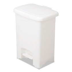 Safco Rectangle Plastic Step-On Trash Can, 4 Gallon, White