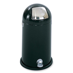 Safco Dome Top Metal Step-On Trash Can, 12 Gallon, Chrome & Black