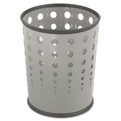 Safco Round Steel Desk Wastebasket, 6 Gallon, Gray