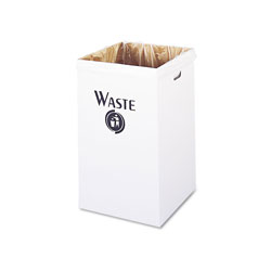 Safco Corrugated Waste Receptacle, Square, 40gal, White, 12/Carton