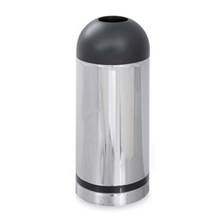 Safco Dome Open Top Metal Indoor Trash Can, 15 Gallon, Chrome & Black