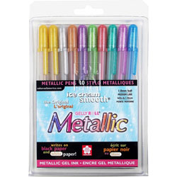 Sakura Gel Pen, Water/Fade Proof, 1.0mm, Med. Line, 10/PK, Metallic Ast.