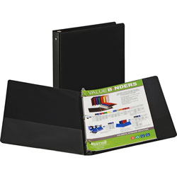"Samsill Value Ring Binder, 1/2"" Capacity, Black"