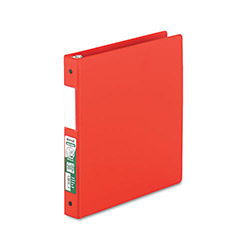 "Samsill 47% Recycled Antimicrobial Locking Round Ring Binder, 1"" Capacity, Red"