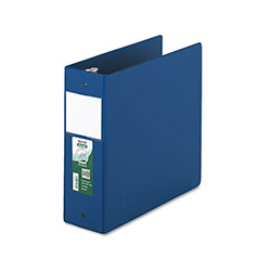 "Samsill 47% Recycled Antimicrobial Locking Round Ring Binder, 4"" Capacity, Blue"