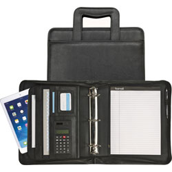 Samsill Zipper Binder Portfolio, Black