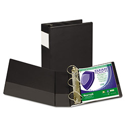 "Samsill 59% Recycled Antimicrobial Locking D-Ring Binder, 4"" Capacity, Black"