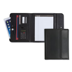 Samsill Business Tri Fold Padfolio™ with Calculator and Letter Size Pad, Black
