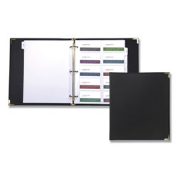 Samsill Vinyl Refillable 200 Cap. Business Card Binder, 11 1/8x10 1/4, Black