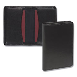 Samsill Leather Business Card Wallet, 4 1/4 x 3, Black