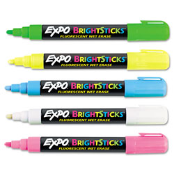 Expo® Bright Sticks Wet-Erase Fluorescent Marker Set, Bullet Tip, Assorted