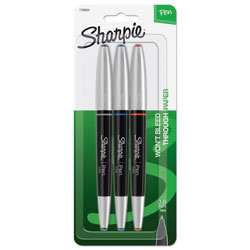 Sharpie® Grip Porous Point Stick Permanent Water Resistant Pen, Assorted Ink, Fine, 3/Set