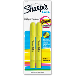 Sharpie® Gel Highlighter, Smear Block, 2/Pack, Yellow