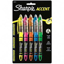 Sharpie® Liquid Highlighter, Chisel Point, 5 Color Set: YW/PK/BE/GN/OE