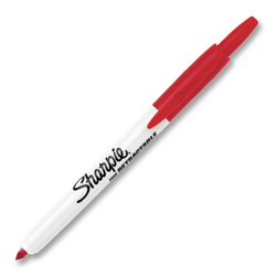 Sharpie® Permanent Marker, Retractable, Fine Point, Red