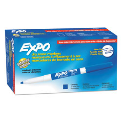 Expo® Low Odor Dry Erase Marker, Fine Point, Blue, Dozen