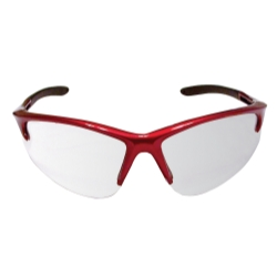 Sas Safety DB2 Safety Glasses with Clear Lens and Red Frame in Polybag