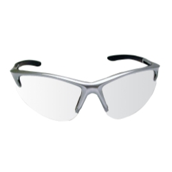 Sas Safety DB2 Safety Glasses with Clear Lens and Silver Frames in Clamshell Packaging