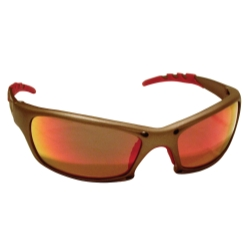 Sas Safety GTR Safety Glases with Gold Frames and Iridium Mirror Lens in Clamshell Packaging
