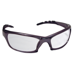 Sas Safety GTR Safety Glasses with Charcoal Frames and Clear Lens in Clamshell Packaging