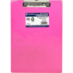 "Saunders Plastic Clipboard, Letter, Holds 1/2"" of Paper, Neon Pink"