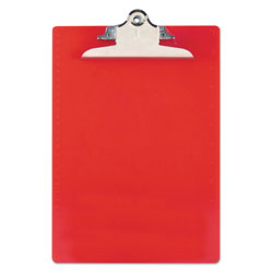 Saunders Recycled Clipboards, Plastic, Letter Size, Red Opaque
