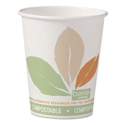 Solo Bare by Solo Eco-Forward PLA Paper Hot Cups, 10 oz, Leaf Design