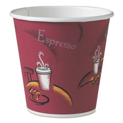 Solo Polycoated Hot Paper Cups, 10 oz, Bistro Design, 50/Pack, 20 Pack/Carton