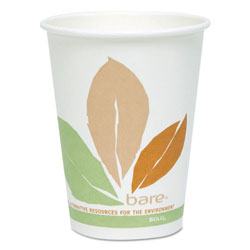Solo Bare by Solo Eco-Forward PLA Paper Hot Cups, 12 oz, Leaf Design, 50/Pack