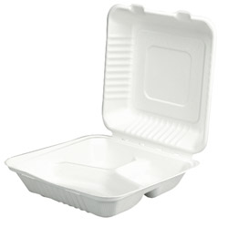 Southern Champion ChampWare Molded-Fiber Clamshells, 3-Comp, 9w x 9d x 3h, White, 200/Carton